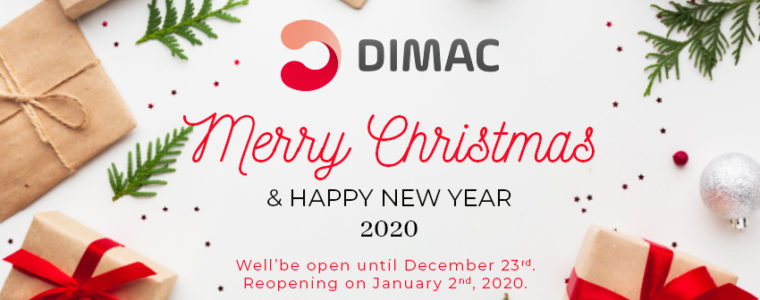 Greetings of Happy Holidays – Open until December 23rd. Reopening on January 2nd, 2020